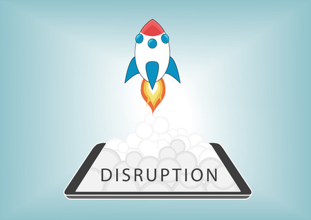 disrupt: New digital disruption with disruptive business models with new technology. Rocket launching from smart phone or tablet with fire and smoke. Illustration