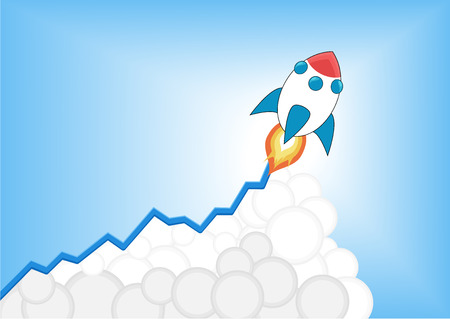 e money: Increasing Positive growth chart with cartoon rocket launching as infographic. Symbol for growth, goal setting, increase, stock market, career success, business expansion.