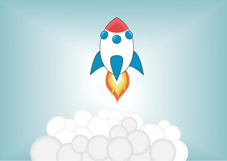 launching: Simplified cartoon rocket launching up into the sky with smoke and fire in front of blurred blue background. Illustration