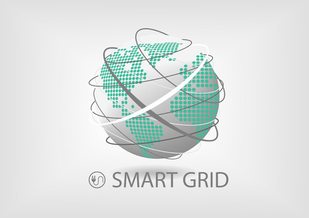 Vector illustration of spinning globe with line connections and dotted world map of America and Europe, Africa. Smart power grid concept for energy sector