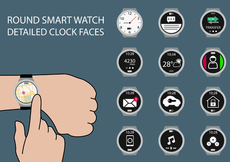 customize: Vector illustration of finger swiping smart watch on wrist display with touch gesture. Multiple smart watch clockfaces using flat design to customize the illustration.