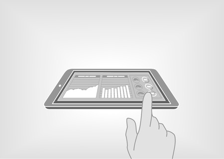 fingertip: Finger swiping a smart phone or tablet to access digital information via information dashboard. Information at your fingertips with vector illustration in flat design
