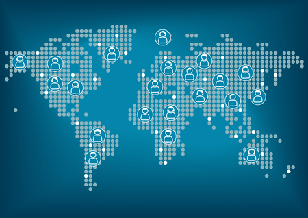globally: World map with dots. Men and women globally connected via social network. Dark blue background. Vector illustration.