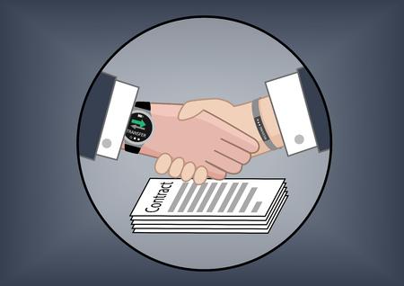 transakcji: Ilustracji wektorowych dla mobilnych płatności elektronicznych do przekazywania pieniędzy dla transakcji biznesowych po negocjacjach kontraktowych uwidoczniono przez dwóch partnerów biznesowych wstrząsając ręce.