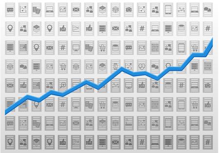 predictive: Estratto Information Technology illustrazione vettoriale analisi per l'analisi predittiva e di business intelligence nell'ambito del marketing e finanza simbolo di un grafico di crescita positiva