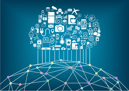 Smart home and Internet of Things concept. Cloud computing to connect global wireless devices with eachother. Wireframe of world with various connection points and lines between cities and people.