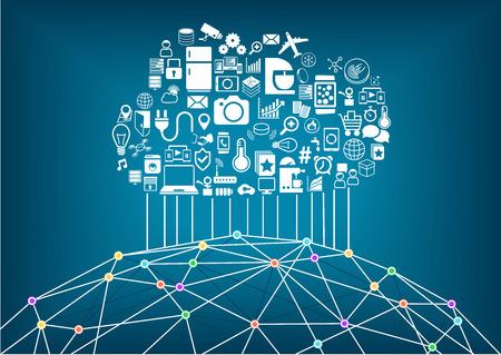connexion: Maison intelligente et Internet des objets concept. Cloud computing pour connecter des périphériques sans fil mondiaux avec eachother. Filaire du monde avec différents points de connexion et des lignes entre les villes et les gens.