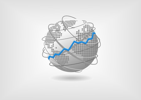 Das weltweite Wirtschaftswachstum Konzept Vektor-Illustration. Bullish prosperierenden Weltwirtschaft von Globus und Weltkarte mit flachen Design vertreten. Standard-Bild - 40259131
