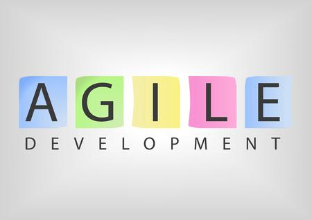 애자일 개발 소프트웨어에 대 한 개념으로 다채로운 노트 카드와 텍스트
