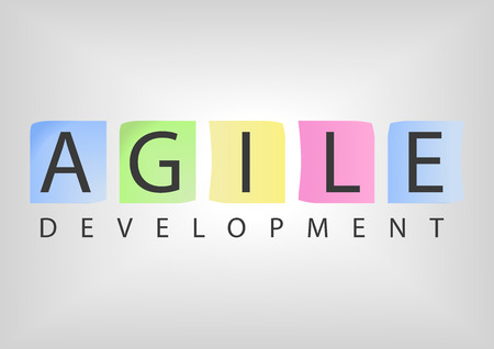 Text with colorful notecards as concept for Agile Development Software Illustration