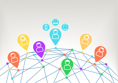 Connectivity and communication within social network with connected devices like laptop smart phone and SmartWatch. Background with globe and connections between different dots.