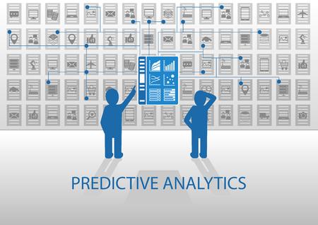 predictive: Predictive Analytics illustrazione vettoriale. Due analisti analyzing report dashboard. Design piatto con colori blu e grigio.