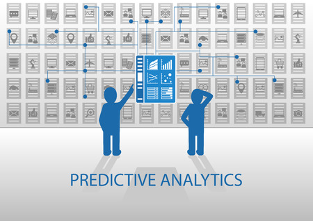 Predictive analytics vector illustration. Two analysts analyzing reporting dashboard. Flat design with blue and gray color scheme.