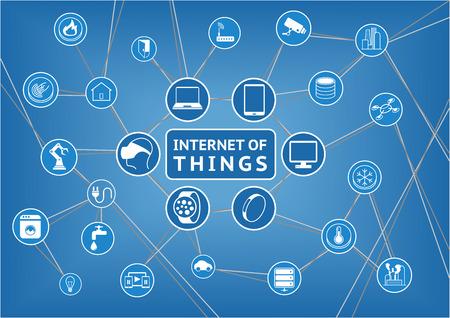 trabajando en casa: Internet de los objetos representados por los dispositivos de consumo conectados y como ilustración vectorial objetos son inteligentes Tlf portátiles tablet termostato inteligente servidores de almacenamiento en casa inteligentes y otros