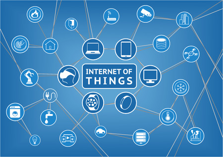 connecting: Internet of Things Represented by consumer and connected devices as vector illustration Objects are Smart Phone Smart Thermostat tablet notebook appliances smart home storage servers and other
