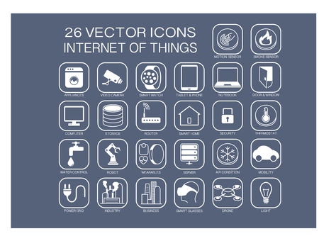seguridad industrial: Reutilizables iconos ilustración vectorial de Internet de las Cosas temas como domóticos inteligentes casa watchsmart inteligente SmartSensors termostato robots electrodomésticos. Vectores