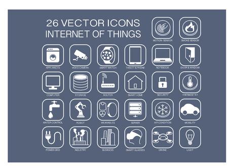 reusable: Riutilizzabili illustrazione vettoriale icone di Internet delle cose argomenti come domotiche intelligenti casa intelligente watchsmart SmartSensors termostato robot elettrodomestici.