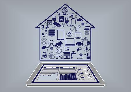 monitoreo: Ilustración vectorial de diseño plano de un inteligente infografía domótica. Controle sistema de casa inteligente con el teléfono inteligente o tableta vía salpicadero información