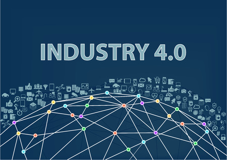 Industry 4.0 vector illustration background. Internet of Things concept Visualized by Globe wireframe and connections between different connected devices like smart phone sensor objects.