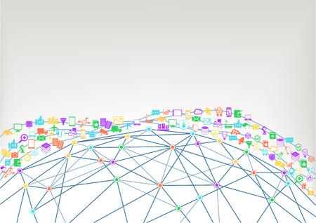 World Wide Web en internet van de dingen ivd concept van de aangesloten apparaten. Wireframe model van de wereld met polygonen en verbindingen tussen kruispunten. Stock Illustratie