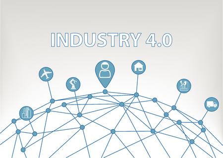 industriales: Industria 4.0 ilustración vectorial de fondo con WorldGrid y el consumidor conectado a dispositivos como las plantas industriales Robots Transporte Aviones y casa inteligente