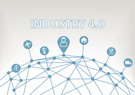 industry: Industry 4.0 vector illustration background with WorldGrid and consumer connected to devices like industrial plants robots Transportation Airplanes and smart home