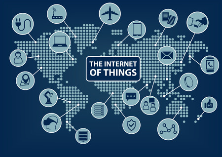 Internet of Things IoT world map with various connected devices: such as smart phone SmartWatch sensor notebook glasses airplanes robots