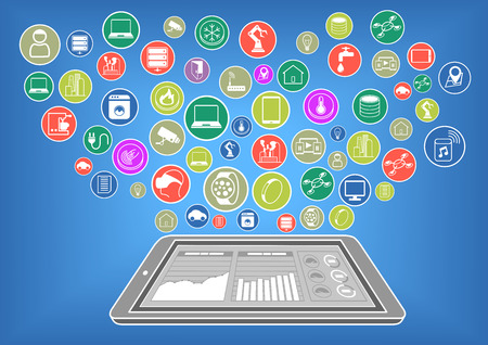 Flat Design Vector Illustration of modern smart phone or tablet connected to the Internet of Things via cloud computing. Big Data Dashboard Displayed on smartphone display.