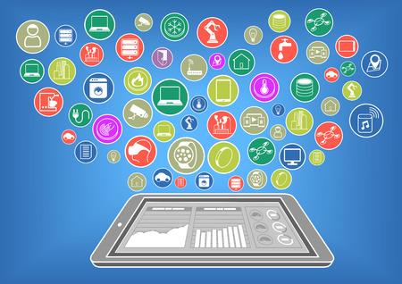 클라우드 컴퓨팅을 통해 사물의 인터넷에 연결된 현대 스마트 폰 또는 태블릿의 플랫 디자인 벡터 일러스트 레이 션. 빅 데이터 대시 보드는 스마트 폰 일러스트
