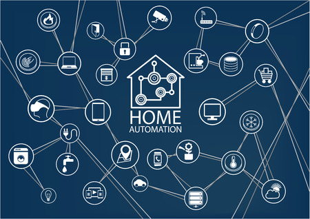 Smart Home Automation vector background. Connected Smart Home devices like phone SmartWatch tablet sensor appliances. Network of connected devices with flat design. Illusztráció