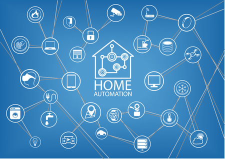 home: Home automation infographic to show the connectivity of home devices via the Internet of Things as a vector illustration Illustration