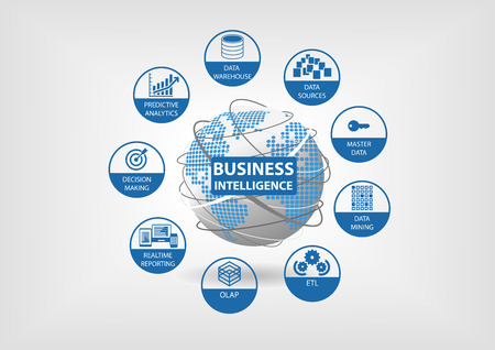 Business Intelligence concept with OLAP data mart ETL Extract Transform Load Realtime Reporting Master Data Data Mining icons in flat design