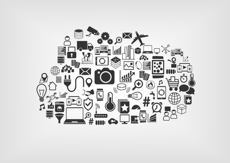 クラウドのこと IoT インターネット概念。様々 なベクトルのフラットなデザインで背景をぼかした写真のアイコン。  イラスト・ベクター素材