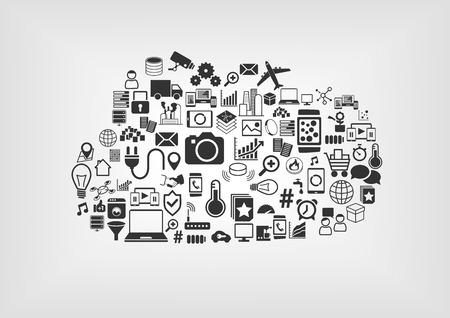 Internet de las Cosas concepto de la IO en la nube. Varios iconos del vector en fondo borroso con diseño plano. Ilustración de vector