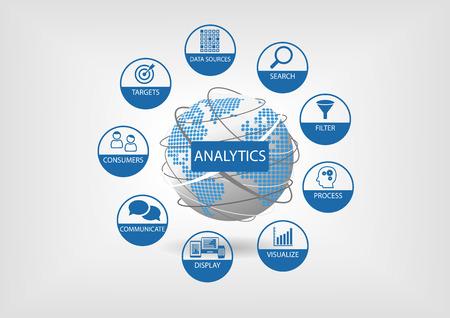 Web とデータ分析はベクトル地球儀と世界地図のイラストです。分析コンポーネント: 検索フィルター可視化通信など