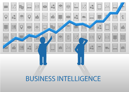 analyzing: Business Intelligence vector illustration. Business people analyzing positive chart with various dataItems OLAP ETL Structured Data Unstructured data in the background.