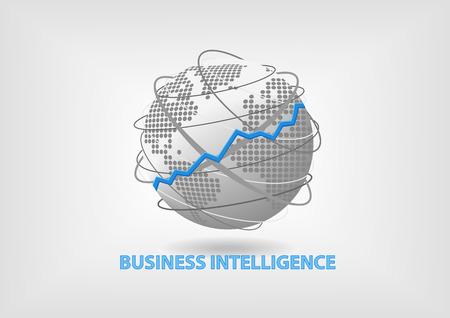 Business Intelligence BI concept vector illustration with world map in flat design Illustration