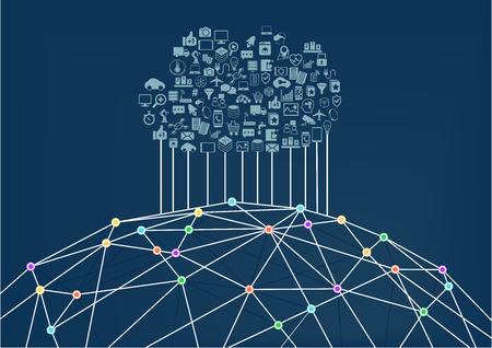 Cloud computing connected to the World Wide Web Internet. Vector illustration background for Information Technology.