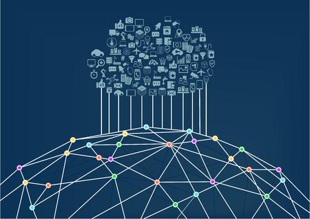 Cloud computing is aangesloten op het World Wide Web Internet. Vector illustratie achtergrond voor Informatie Technologie.