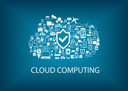 Cloud computing security. Security in the cloud concept with icons on blurred background with flat design. Vector