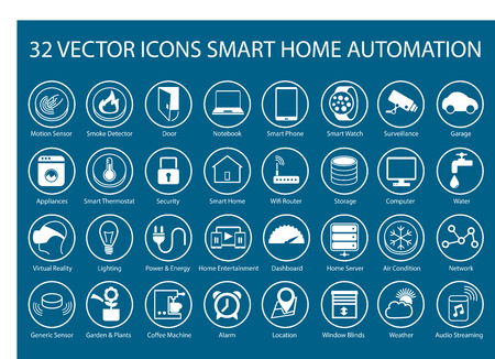 home security: Customizable vector icons for infographics Regarding smart home automation like smart thermostats SmartSensors SmartWatch gadgets Storage Server Home Automation locationservices appliances