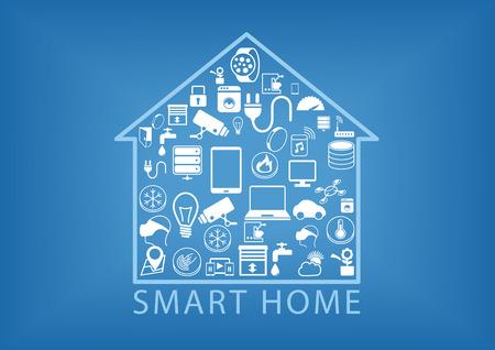 Domótica inteligente como ilustración vectorial que muestra varios dispositivos como teléfonos inteligentes inteligentes electrodomésticos sensor del termostato en un icono de inicio simplificado