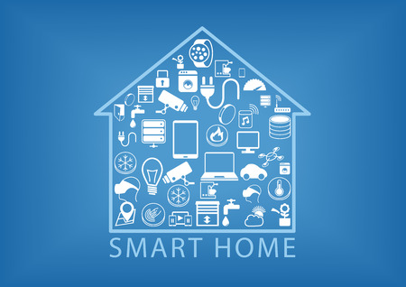home appliance: Smart Home Automation as vector illustration showing various devices like smart phones smart thermostat sensor appliances within a simplified home icon