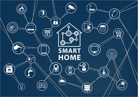 Smart Home Automation vector background. Connected Smart Home devices like phone SmartWatch tablet sensor appliances. Network of connected devices with flat design. 向量圖像