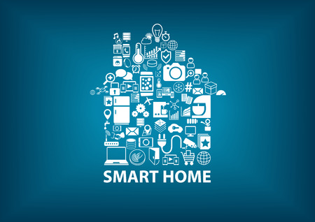 SmartHome vector illustration with home assembled with white icons symbol. Blurred dark blue background Vettoriali