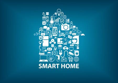 SmartHome ilustración vectorial con casa montado con iconos blancos símbolo. Borrosa fondo azul oscuro