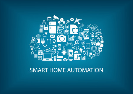 automation: Smart Home Automation with cloud computing technology. Icons and symbols of home devices Arranged as a cloud. Vector background with blue color.
