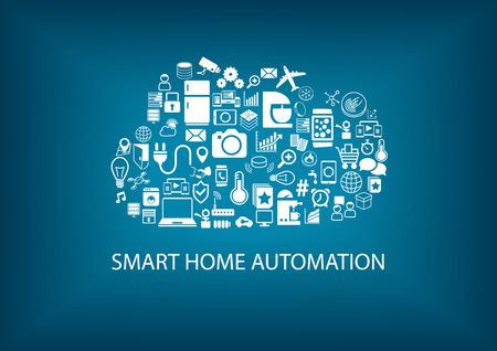 domotique: Smart Home Automatisme avec de cloud computing. Ic�nes et symboles de p�riph�riques domestiques arrang�s comme un nuage. Vecteur de fond avec la couleur bleue.