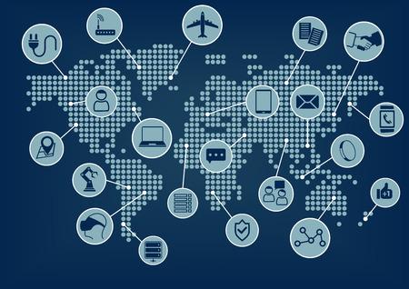 Internet de las Cosas IoT mapa del mundo con diversos dispositivos conectados: tales como teléfonos inteligentes SmartWatch gafas portátiles sensor de aviones robots Ilustración de vector