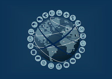devices: Internet of Things IoT connected devices around the world. Vector illustration with blurred background and globe and world map Illustration